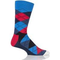 1 Pair Blue Argyle Combed Cotton Socks Unisex 4-7 Unisex - Happy Socks