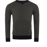 1 Pack Scots Navy 100% Lambswool Crew Neck Striped Jumper with Neck Detail Mens Medium - Great and British Knitwear