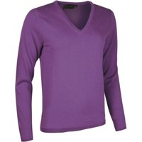 1 Pack Carousel Made In Scotland 100% Cashmere V Neck Purples and Pinks Ladies Small - Great and British Knitwear