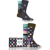 Mens and Ladies 4 Pair Happy Socks Leopard Stripe and Big Dots Combed Cotton Socks
