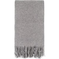1 Pack Silver Great and British Knitwear 100% Cashmere Plain Knit Scarf With Fringe Unisex One Size - Great and British Knitwear