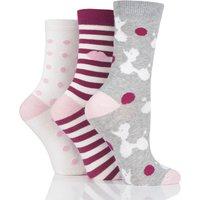 3 Pair Grey Poodles Stripes and Dots Cotton Socks Ladies 4-8 Ladies - Lulu Guinness