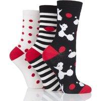 3 Pair Black Poodles Stripes and Dots Cotton Socks Ladies 4-8 Ladies - Lulu Guinness