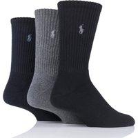 3 Pair Assorted Cotton Crew Sports Socks Men´s 6-11 Mens - Ralph Lauren