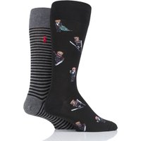 2 Pair Black Snow Bear Cotton Socks Men´s 6-11 Mens - Ralph Lauren