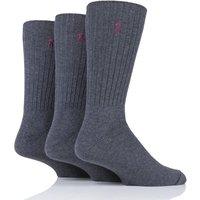 3 Pair Charcoal Classic Cotton Crew Socks Men´s 6-11 Mens - Ralph Lauren