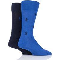 2 Pair Sapphire Star/ Cruise Navy Embroidered Horse and Plain Cotton Socks Men´s 9-12 Mens - Ralph Lauren