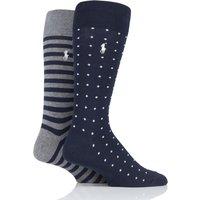 2 Pair Navy / Grey Dot and Stripe Cotton Socks Men´s 6-11 Mens - Ralph Lauren