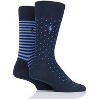 2 Pair Cruise Navy/ Maidstone Blue Dot and Stripe Egyptian Cotton Socks Men´s 5-8 Mens - Ralph Lauren