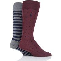 2 Pair Clas Wine/ Cru Navy/ Fos Grey Dot and Stripe Cotton Socks Men´s 44141 - Ralph Lauren