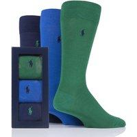 3 Pair Green/ Royal/ Cru Navy Plain Cotton Gift Boxed Socks Men´s 6-11 Mens - Ralph Lauren