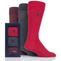 3 Pair Pion Red/ Dk Char/ Cls Wine Plain Cotton Gift Boxed Socks Men´s 6-11 Mens - Ralph Lauren