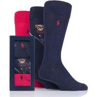 3 Pair Cru Navy/ Pion Red/ Cru Navy Ski Jumping Bear and Plain Combed Cotton Gift Boxed Socks Men´s 6-11 Mens - Ralph Lauren