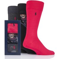 3 Pair Polo Blk/ Dk Charc/ Pion Red Ski Jumping Bear and Plain Combed Cotton Gift Boxed Socks Men´s 6-11 Mens - Ralph Lauren
