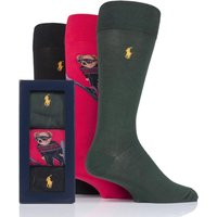 3 Pair Pion Red/ Polo Blk/ Coll Green Ski Jumping Bear and Plain Combed Cotton Gift Boxed Socks Men´s 6-11 Mens - Ralph Lauren