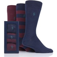 3 Pair Cls Wine/ Cru Navy/ Coll Green Rugby Stripe and Plain Cotton Gift Boxed Socks Men´s 6-11 Mens - Ralph Lauren