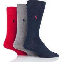 3 Pair Cr Navy/ Perf Grey/ Rl Red Mercerized Cotton Flat Knit Plain Socks Men´s 9-12 Mens - Ralph Lauren
