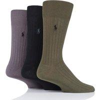 3 Pair Olive/ Black/ Grey Egyptian Cotton Ribbed Plain Socks Men´s 5-8 Mens - Ralph Lauren