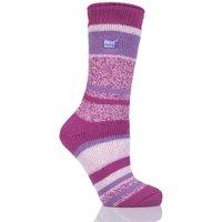 Ladies 1 Pair SockShop Heat Holders Multi Twisted Stripe Socks