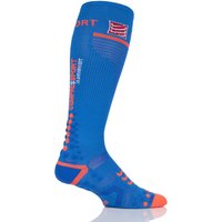 1 Pair Blue Full Length V2.1 Compression Socks Unisex 10-13 Unisex (30-38cm Calf) - Feetures