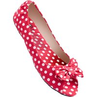 1 Pair Red Deluxe Range Dotty For You Red Polka Dot Shoes Ladies Small (3-4) - Rollasole