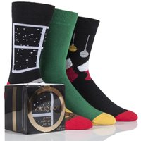 '3 Pair Stockings And Fireplace Gift Boxes Men's 6-11 Mens - Wild Feet