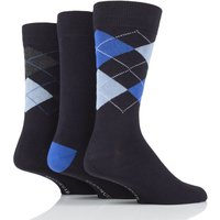 3 Pair Navy 2 Classic Bamboo Argyle Socks Mens 7-11 Mens - Glenmuir