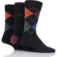 Mens 3 Pair Glenmuir Dot Stripe and Plain Bamboo Socks