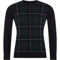 Mens Great & British Knitwear 100% Lambswool Tartan Crew Neck Jumper