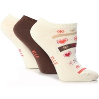 Girls 3 Pair Young Elle Stone Hearts & Stripe Trainer Socks