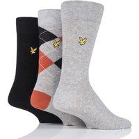 3 Pair Black Hewie Argyle Cotton Socks Mens 7-11 Mens - Lyle and Scott