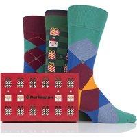 Mens 3 Pair Burlington Christmas Argyle Mixed Cotton Socks