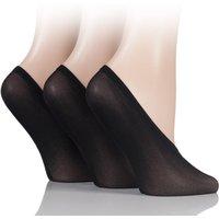 3 Pair Black Soft Sheen Shoe Liner Socks Ladies 4-8 Ladies - SOCKSHOP