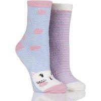 Ladies 2 Pair SockShop Snugsoles Hamster Fluffy Bed Socks