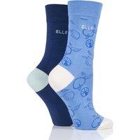 2 Pair Gingham Blue Bamboo Patterned and Plain Socks Ladies 4-8 Ladies - Elle