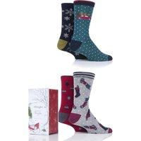 4 Pair Assorted Christmas Eve Bamboo and Organic Cotton Gift Boxed Socks Mens 7-11 Mens - Thought