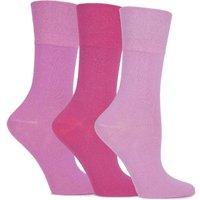 Ladies 3 Pair Gentle Grip Blossom Cushioned Plain Cotton Socks