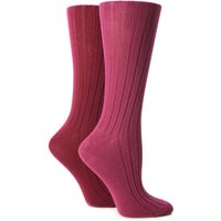 Ladies 2 Pair Jennifer Anderton Plain Ribbed Boot Socks