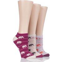 Ladies 3 Pair Elle Patterned Cotton No Show Socks