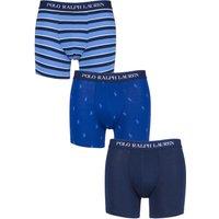 3 Pack Blue Mix Pony Plain Cotton Stretch Longer Leg Boxer Briefs Men´s Small - Ralph Lauren