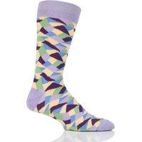 Mens 1 Pair Viyella Crazy Paving Patterned Cotton Socks