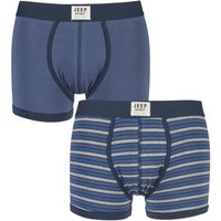 Mens 2 Pack Jeep Spirit Front Badge Plain and Narrow Striped Trunks
