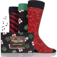 Mens and Ladies 3 Pair Happy Socks Christmas Combed Cotton Socks
