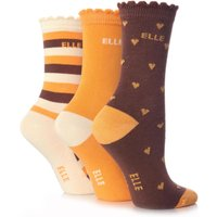 Girls 3 Pair Young Elle Brown Heart, Stripe & Plain Socks