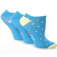 Girls 3 Pair Young Elle Blue Spots & Stripe Trainer Socks