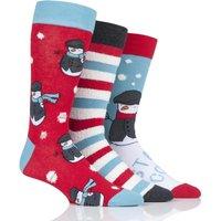 3 Pair Multi Snowman Cotton Socks Mens 7-11 Mens - Wild Feet