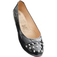 1 Pair Black Studded Toe Rollable After Party Shoes to Keep in Your Handbag Ladies Small (3-4) - Rollasole