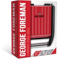 George Foreman 25030 Steel Compact Grill Red