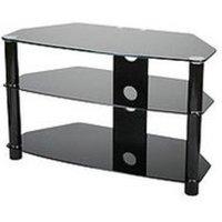Vivanco 26060 600mm Wide D Shaped Design Black Glass TV Stand