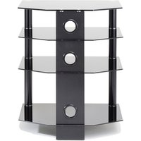 TTAP AVS C303R 60 Classik 600mm 4 Shelf Hi Fi Rack in Black Black Glas